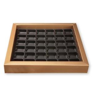 Pralinask med fack för 36 praliner, brons