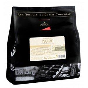 Vit choklad Ivorie 35%, Valrhona, 1 kilo